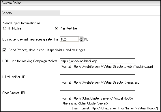 Setting The Mail Format And Message Size